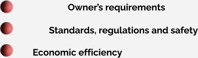 Owner's requirements Standards, regulations and safety Economic efficiency
